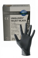 20 gants en latex jetables - Mister B - Pack de 20 gants chirurgicaux ambidextre en latex noir, taille M, par Mister B.