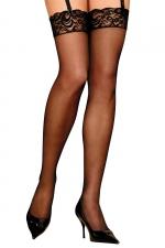 Bas classiques en voile Bruna noir - Anne d'Ales : Bas classiques en voile noir, à fixer sur un porte-jarretelles.