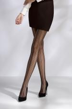 Collants résille TI040 - noir - Paire de collants en résille noire soulignée de lignes verticales.