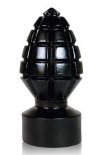Plug grenade All Black - Plug anal géant en forme de grenade crantée pour des sensations explosives!