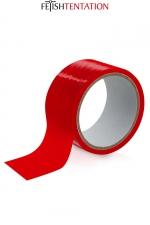 Ruban de soumission rouge 15m - Fétish Tentation - Ruban de soumission auto-fixant en PVC rouge pour vos jeux intimes, 15 mètres de long par 5 cm de large.
