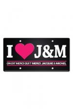 Plaque métal I love J&M - Plaque de porte haute qualité en métal, dimensions 20 x 30 cm, avec message  I love Jacquie & Michel .