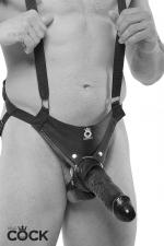 Gode ceinture creux 25 cm - noir - Harnais gode-ceinture creux Premium pour hommes, avec bretelles de soutien, équipé d'un gode réaliste taille XXL, couleur noir.