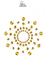 Bijoux de seins Mimi dorés - Bijoux de corps en strass dorés à poser en corole autour du mamelon pour un effet sexy garanti.