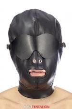 Cagoule simili cuir avec bandeau amovible - Fetish Tentation : Cagoule BDSM haute qualité en simili cuir, avec bandeau pour les yeux amovible et ouverture permanente pour la bouche.