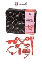 Kit BDSM 8 pièces - rouge - Superbe kit de 8 pièces BDSM présenté dans une boite cadeau en métal.