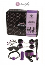 Kit BDSM 8 pièces - violet - Superbe kit de 8 pièces BDSM présenté dans une boite cadeau en métal.
