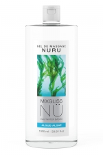 Gel massage Nuru Algue Mixgliss - 1 litre : Gel de massage NÜ par Mixgliss pour redécouvrir le plaisir du massage Nuru. Formule enrichie en algues, flacon de 1 Litre.