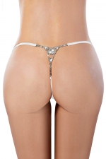 String blanc avec strass - Paris Hollywood - Avec ce string blanc très sexy, associez lingerie coquine et bijoux strass pour vous rendre encore plus désirable.