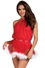Robe body 2 en 1 mère Noël Santastic Obsessive - Joli costume de mère Noël sexy convertible en body rouge fabriqué par la marque Obsessive Lingerie.
