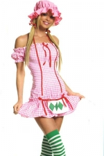 Costume sexy Strawberry Girl - Costume de Charlotte aux Fraises sexy : bonnet, robe et bas � rayures.