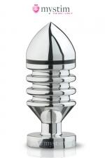 Plug électro-stimulation L Hector Helix - Mystim - Plug anal haute qualité taille L, en aluminium poli miroir, forme en hélix pour plus de sensations et stimulation électrique.