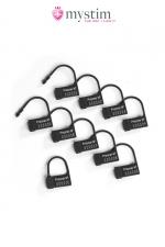 Scellés plastiques pour cage Pubic Enemy - Mystim - 10 cadenas plastique mono-utilisation pour sceller votre cage de chasteté.