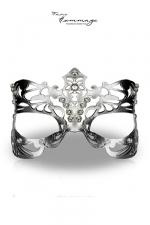 Masque Royal - Faire Hommage - Un superbe loup v�nitien en cuir cisel� et teint� couleur argent, orn� de pierres de Swarovski.