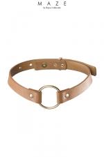 Collier Choker marron - Maze - Un collier 100% Vegan, en faux cuir marron, à la fois tendance, discret et explicite avec son anneau de soumission en métal.