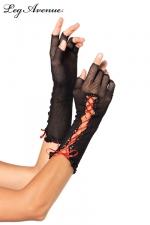 Mitaines résille lacet rouge - Mitaines demi-doigts en résille noire, et un ruban de satin rouge lacé.