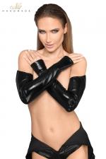 Gants longs faux cuir et wetlook F197 - Gants longs style mitaines, un fourreau noir à offrir à vos bras.