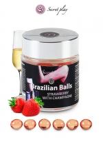 6 Brazilian Balls - fraise & champagne - La chaleur du corps transforme la brazilian ball en liquide glissant au parfum fraise & champagne, votre imagination s'en trouve exacerbée.