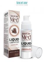 Lubrifiant Liquid Vibrator Chocolat 30ml - Amoreane Med - Gel lubrifiant médical à base d'eau avec effet vibrant, parfumé au chocolat, par Amoréane Med.