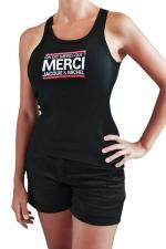 Débardeur Femme J&M (taille XL) - Débardeur femme, noir, classique J&M affichant le célèbre slogan: On dit merci qui? Taille XL.