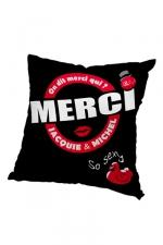 Housse de coussin 40x40 J et M - noir - Housse de coussin 40 x 40 cm, coloris noir et rouge, par Jacquie et Michel.