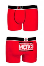 Boxer J&M en coton - rouge - Ne loupez jamais une belle occasion de montrer votre... Boxer (modèle rouge en coton) Jacquie et Michel.
