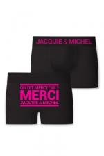 Boxer J&M Merci qui (taille SM) - Boxer sans couture, coloris noir,  avec inscription  On dit merci qui? Merci Jacquie & Michel  sur l'arrière.