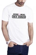 T-shirt Sex Coach blanc - Jacquie et Michel - Profitez du T-shirt Sex Coaching J&M pour offrir une formation gratuite et 100% naturelle à vos partenaires potentielles.