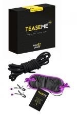Jeu coquin TeaseMe - Jeu pour adultes spécial domination et soumission contenant 6 cartes défis détaillées et 3 accessoires de bondage.