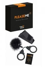 Jeu érotique PleaseMe - Jeu coquin basé sur la stimulation et les sensations, la domination et la soumission. 6 cartes défis et 3 accessoires BDSM inclus.