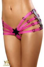 Star - Culotte fendue - 100% coquine, cette culotte fendue rose vif composée d'un agencement de sangles ajustables.