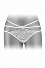 Culotte ouverte  Nadia - blanc - Culotte coquine blanche, en dentelle et ornements, offrant largement la vue sur les fesses, par Fashion Secret.