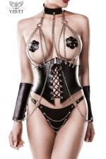 Corset faux cuir et chaines 4 pièces - Grey Velvet - Corset faux cuir orné de chaînes chromées fixées par des rivets, avec le string, les manchettes et le collier assortis.