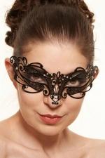 Masque v�nitien Feel 4 - Ce masque v�nitien en m�tal noir d�cor� de strass pose un bandeau myst�rieux sur votre regard.