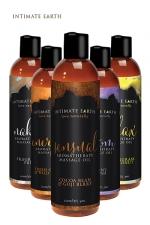 Huile de massage BIO - Intimate Earth - Mélange de différentes huiles certifiés biologiques conviennent aux vegan. Ces huiles sont parfaites pour détendre les muscles endoloris. Sans paraben, fabriqué aux Etats unis. Utilisable au quotidien après la douche. 120ml.