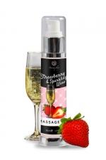 Huile de massage fraise et vin pétillant - Secret Play - Huile de massage érotique au parfum Vin pétillant à la fraise et enrichie en extrait de truffe.