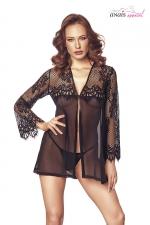 Nuisette Jolie dentelle noire - Anaïs - Magnifique nuisette en dentelle douce et raffinée, une lingerie luxe exclusive.