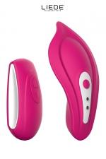 Stimulateur chauffant télécommandé Panty Vibe - cerise - Luxueux mini stimulateur télécommandé chauffant avec sa culotte spéciale fournie pour un confort maxi, couleur cerise.
