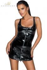 Robe courte zippée en vinyle F232 - Robe courte en vinyle brillant, fendue devant d'un double zip intégral.