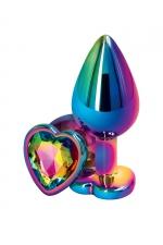 Plug anal aluminium coeur multicolore M - Rear Assets - Plug anal taille Medium en aluminium , dimensions 8 x 3,4 cm, corps et bijou multicolores, base en forme de cœur.
