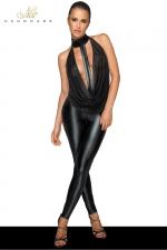Combinaison choker F223 - Combinaison clubwear en wetlook et tulle, ouverte à l'entre-jambes grâce à un zip discret.