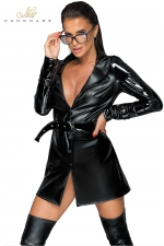 Trench coat wetlook et vinyle F225 - Trench coat très tendance en wetlook et vinyle, la veste sexy indispensable.