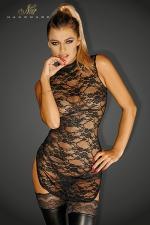 Mini robe Divalicious - Mini robe tunique fendue sur les cotés, en dentelle transparente.