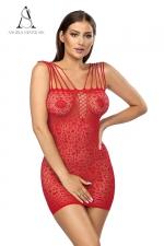 Robe Rubi rouge - Angels nevers Sin : Robe sexy en résille extensible décorée de motifs.
